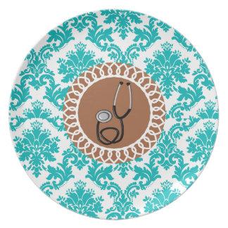 Diseño médico del estetoscopio del damasco plato de comida