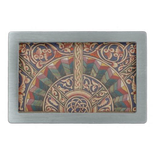 Diseño medieval céltico el en semi-círculo hebillas de cinturon rectangulares