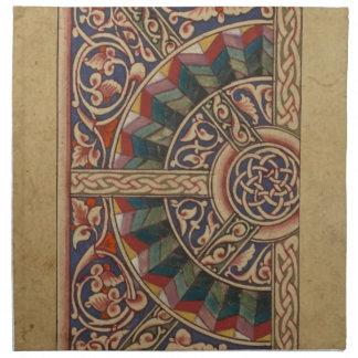 Diseño medieval céltico el en semi-círculo servilleta imprimida