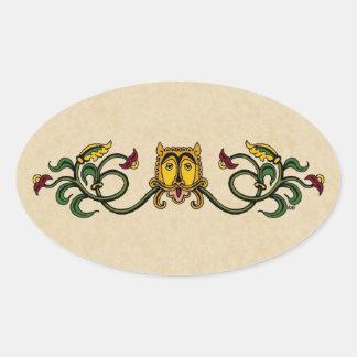 Diseño medieval del león pegatina ovalada