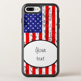 Diseño metálico 2 de la bandera americana funda OtterBox symmetry para iPhone 7 plus