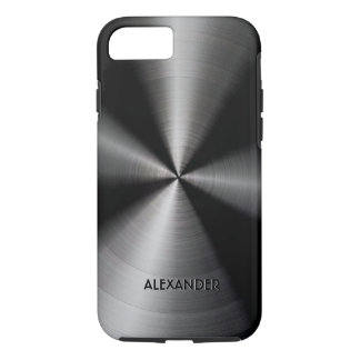 Diseño metálico brillante negro funda iPhone 7