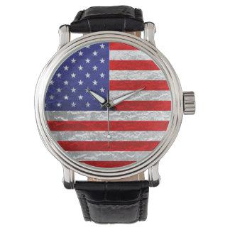 Diseño metálico de la bandera americana relojes