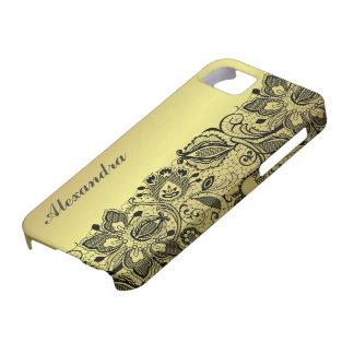 Diseño metálico del oro amarillo y cordón negro iPhone 5 carcasa