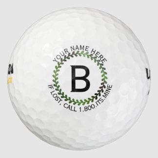 Diseño metálico verde del logotipo de la guirnalda pack de pelotas de golf