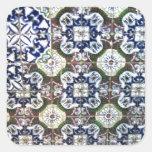 Diseño mexicano de la teja calcomanía cuadradas