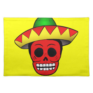 Diseño mexicano del cráneo mantel individual