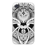 Diseño mezclado tribal polinesio del tatuaje iPhone 4/4S fundas