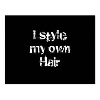Diseño mi propio pelo. Blanco y negro. Postal