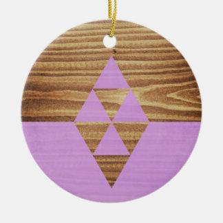 Diseño minimalista púrpura con madera adorno navideño redondo de cerámica