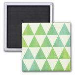 Diseño modelado triángulos verdes de la acuarela imanes para frigoríficos