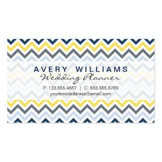 Diseño moderno, azules marinos, amarillo, y tarjetas de visita