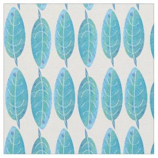 Diseño moderno de la hoja de la acuarela del azul telas