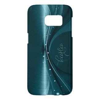 Diseño moderno de la textura metálica azulverde fundas samsung galaxy s7