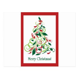 Diseño moderno del árbol de navidad de las Felices Postal