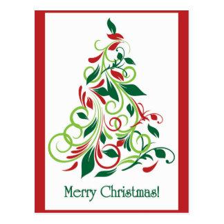 Diseño moderno del árbol de navidad de las Felices Postales
