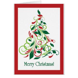 Diseño moderno del árbol de navidad de las Felices Tarjeta De Felicitación