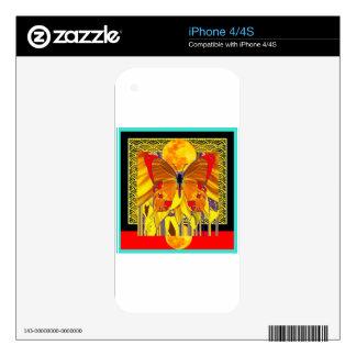 Diseño moderno del arte de la mariposa del calcomanías para el iPhone 4S