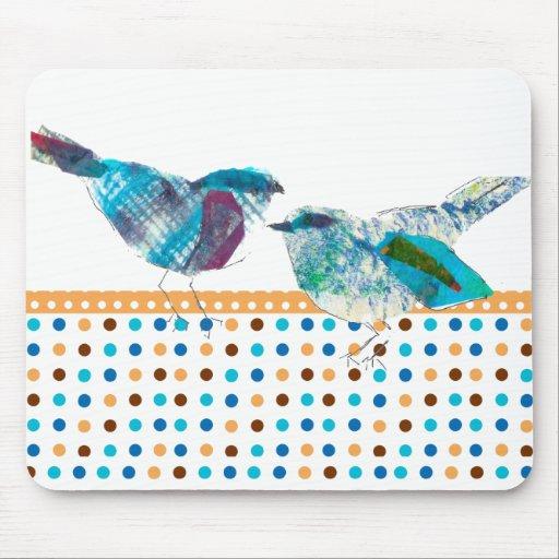 Diseño moderno del pájaro azul retro lindo del lun tapete de ratón