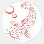 Diseño moderno rojo de Koi Etiqueta Redonda