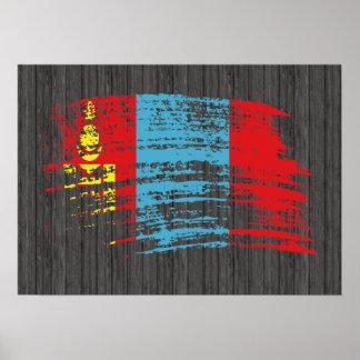 Diseño mongol fresco de la bandera impresiones