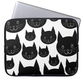 Diseño monocromático del gato mangas portátiles