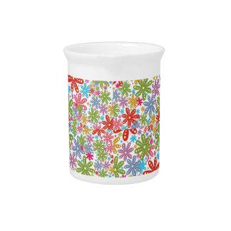Diseño multicolor de las flores. Estampado de Jarras