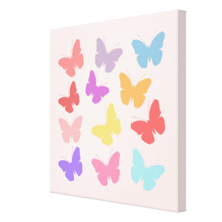 Diseño multicolor de las mariposas impresión en lienzo