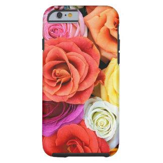 Diseño multicolor del modelo de los rosas funda para iPhone 6 tough
