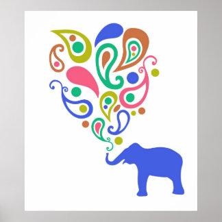 Diseño multicolor del modelo del elefante de Paisl Posters