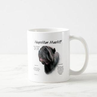 Diseño napolitano de la historia del mastín negro taza de café