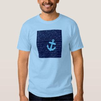 Diseño náutico de la escritura del ancla de la camisas