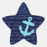 Diseño náutico de la escritura del ancla de la pegatinas forma de estrella personalizadas