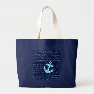 Diseño náutico de la escritura del ancla de la ray bolsa de mano