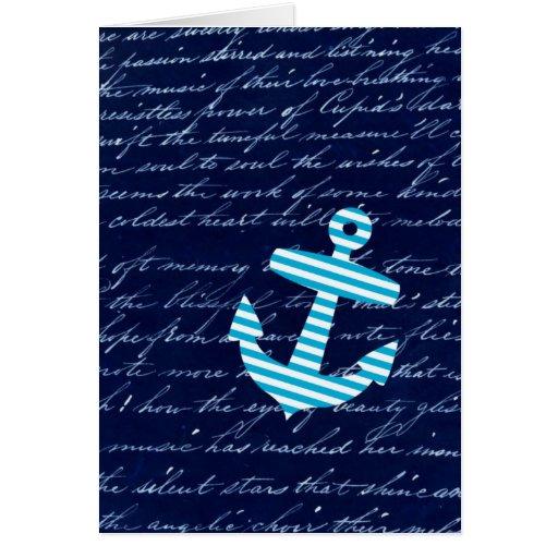 Diseño náutico de la escritura del ancla de la ray tarjeta de felicitación
