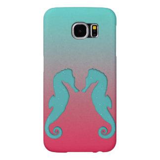 Diseño náutico de los seahorses de la aguamarina fundas samsung galaxy s6