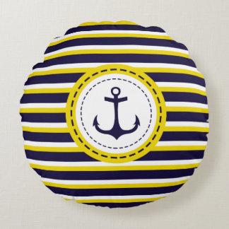 Diseño náutico del ancla de las rayas del amarillo