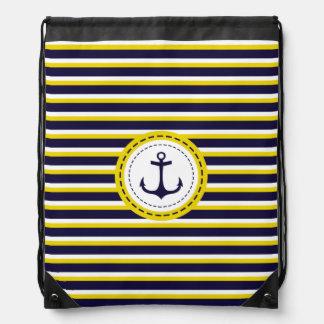 Diseño náutico del ancla de las rayas del amarillo mochilas