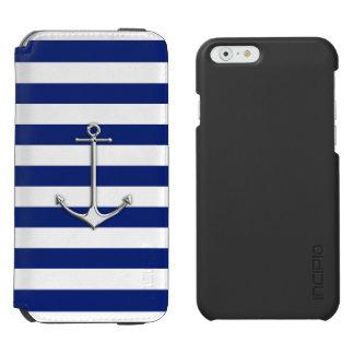 Diseño náutico del ancla del tema en rayas azules funda billetera para iPhone 6 watson