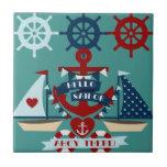 Diseño náutico del barco de vela del ancla del mar azulejo cerámica