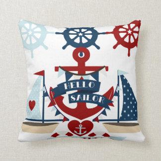 Diseño náutico del barco de vela del ancla del mar cojines