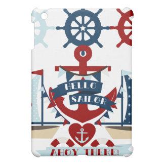 Diseño náutico del barco de vela del ancla del mar iPad mini protectores