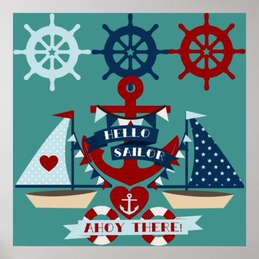 Diseño náutico del barco de vela del ancla del mar poster