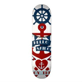 Diseño náutico del barco de vela del ancla del mar tabla de patinar