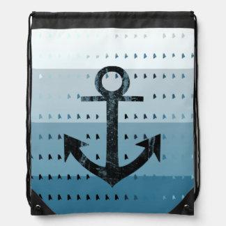 Diseño náutico del modelo del ancla azul masculina mochilas