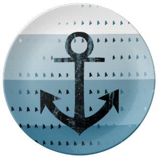 Diseño náutico del modelo del ancla azul masculina platos de cerámica