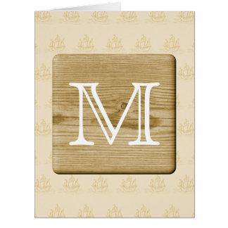 Diseño náutico del monograma, con la imagen de la  tarjeta de felicitación grande