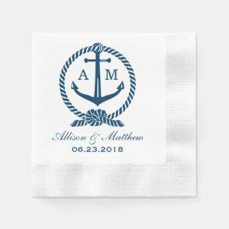 Diseño náutico del monograma de las servilletas el servilleta desechable