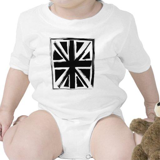 Diseño negro abstracto retro del Union Jack Trajes De Bebé