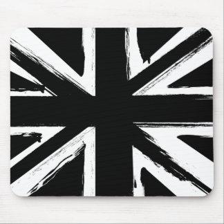 Diseño negro abstracto retro del Union Jack Tapetes De Ratones